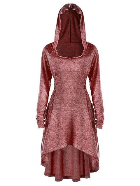 S-5XL 2018 Stylish 4 Colors Plain Asymmetric A-Line Lady's Tunic Hoodies