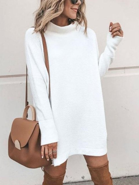 Knitted Casual Long Sleeve Solid T-Shirts