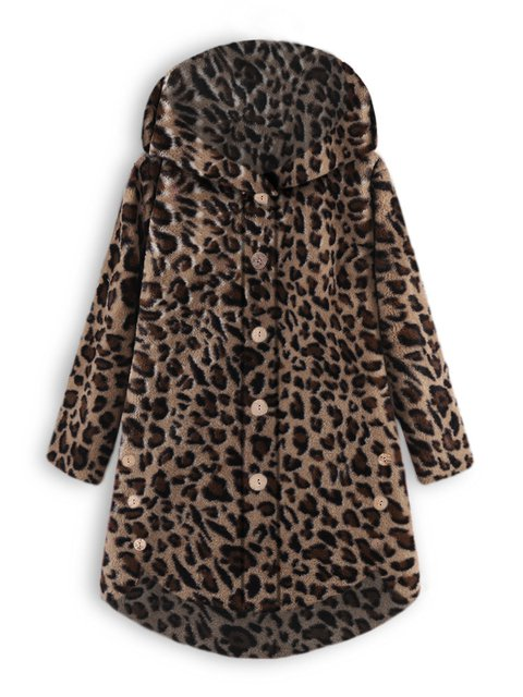 Warm Cozy Long Sleeve Vintage Leopard Print Teddy Bear Coats