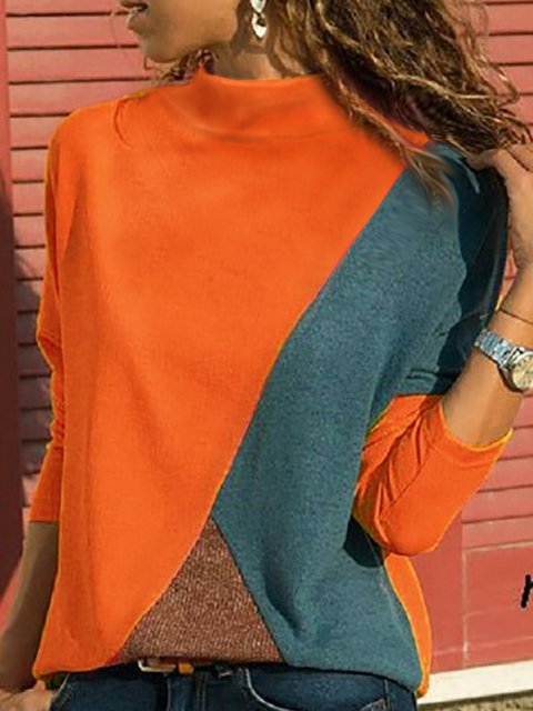 High Neck Patchwork Contrast Stitching Color Block Blouse&shirts