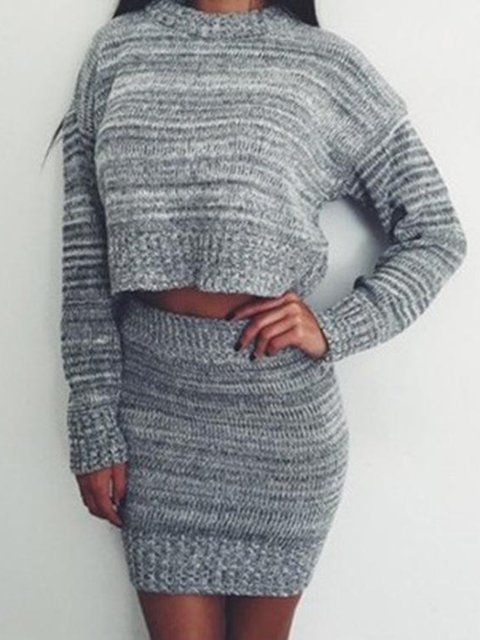 Crew Neck Casual Solid Knitted Suit Set