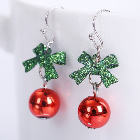 Red Holiday Alloy Earrings Christmas Cute
