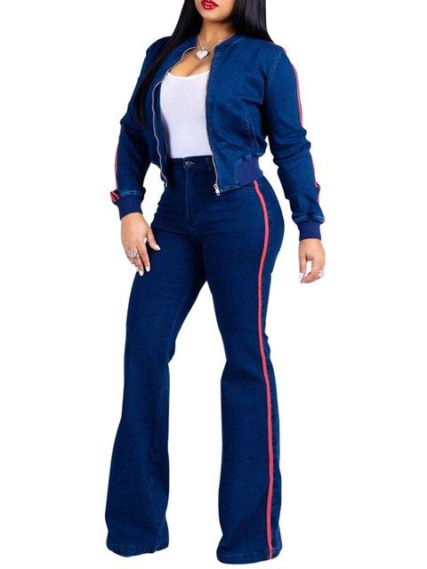 Royal Blue Zipper Stripes Two Piece Corduroy Elegant Suit Set