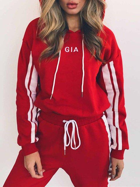 Hoodie Lace Up Cotton-Blend Long Sleeve Sport Suit Set