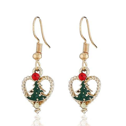 Christmas Heart Shaped Dangle Drop Earrings