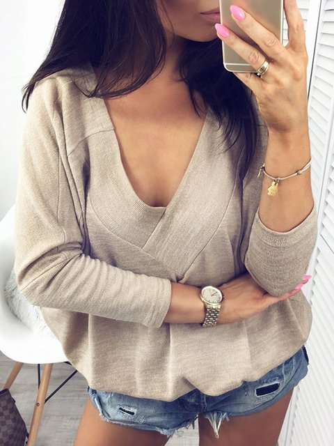 2 Colors Sexy Batwing Cotton V Neck Solid 2018 Lady's Stylish Sweatshirts