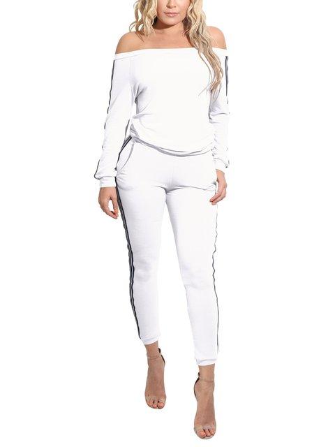Off Shoulder Pockets Simple & Basic Two Piece Stripes Lady's Suit Set