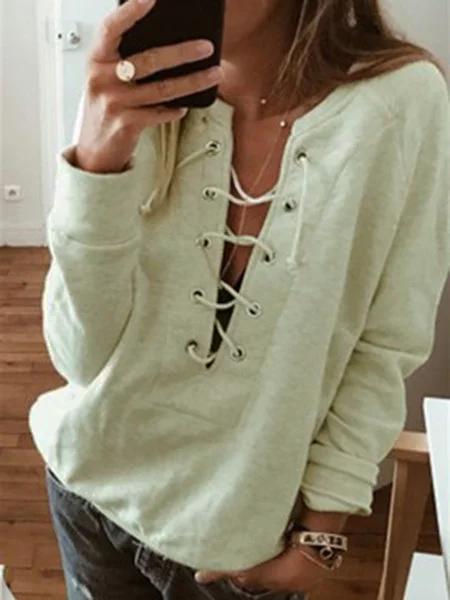 Plain Casual Eyelet V Neck 2018 Women's Fall/Autumn Sweatshirts
