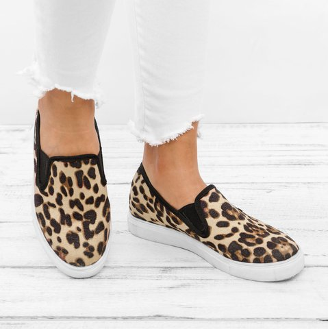 omen's Loafers Casual Flat Heel Leopard Round Toe Loafers