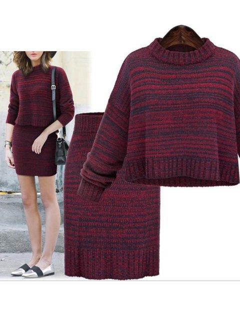 2 Colors Elegant Stripes Two Piece Bodycon Lady's Knit Wear Skirt Suit Set