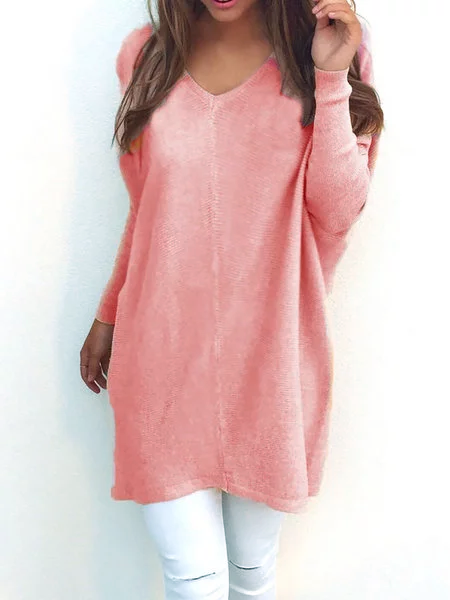 Casual V neck Long Sleeve Solid Winter Cotton Sweater