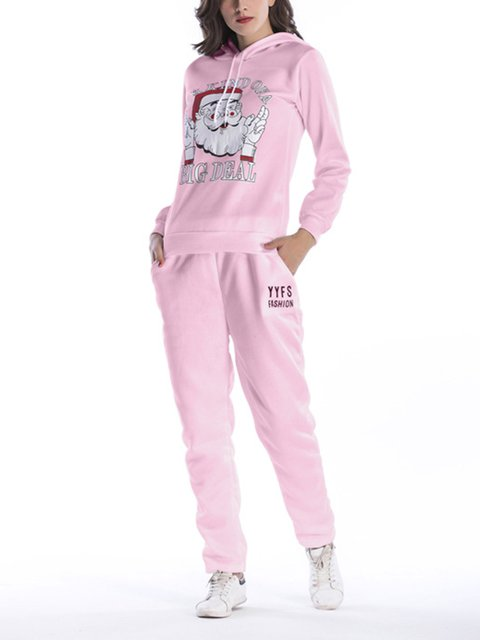 5 Colors Casual Xmas Letter Graphic Ugly Christmas Two Piece Sports Suit Set