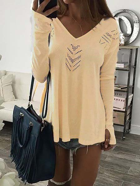 Cutout Solid V neck Casual Long Sleeve T-Shirt