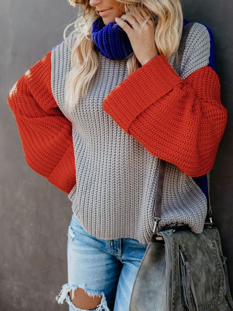 Gray Color-Block Solid Vintage Turtle Neck Sweaters