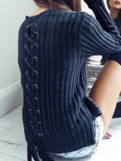 Crew Neck Sweet Lace Up Sweaters