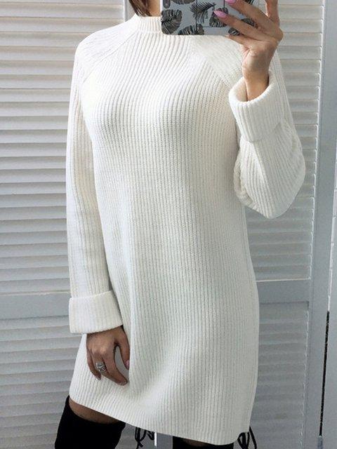 Casual Solid Long Sleeve Knitted Sweaters