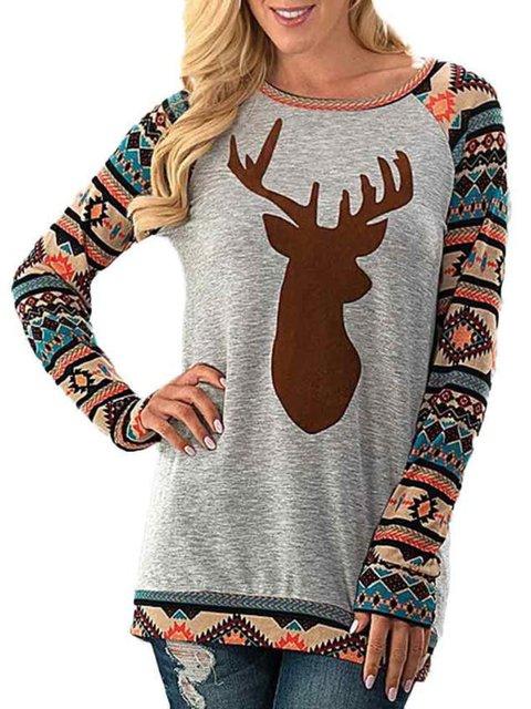 Printed Xmas Reindeer Crew Neck Ugly Christmas Tribal T-Shirts