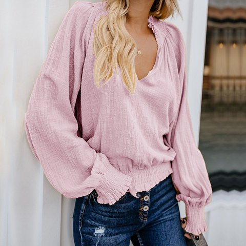 V Neck Vintage Long Sleeve Blouses