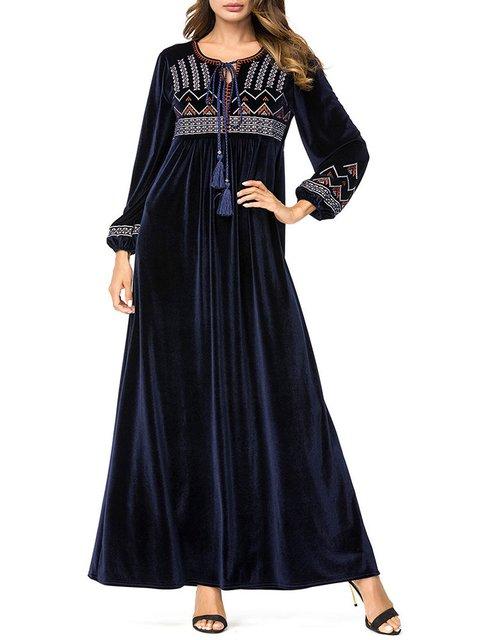 Navy Blue Long Sleeve U-Neck Vintage Fall Dresses