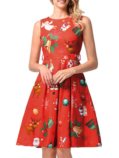 6b4d220384af JustFashionNow Party Dresses Sundress Party A-Line Crew Neck Printed ...