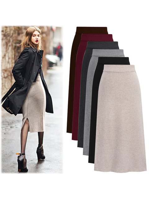 Knitted Solid Skirts