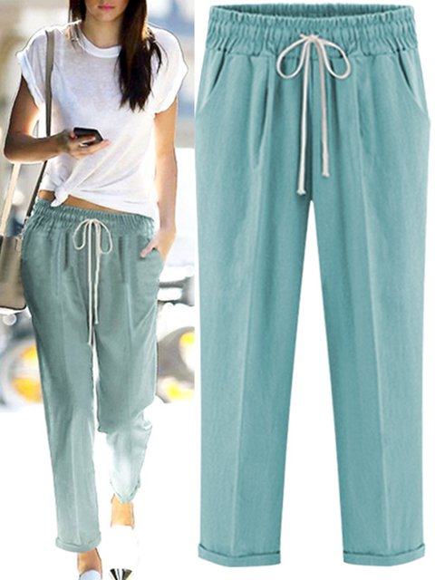 Lace Up Cotton Casual Pants