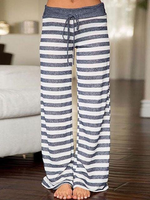 Casual Basic Color-block Paneled Stretchy Natural Pants