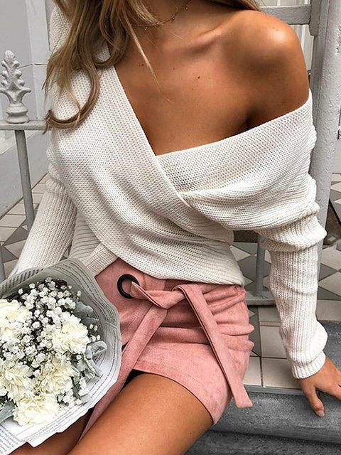 Cross-back Vintage Cotton V Neck Solid Sweaters