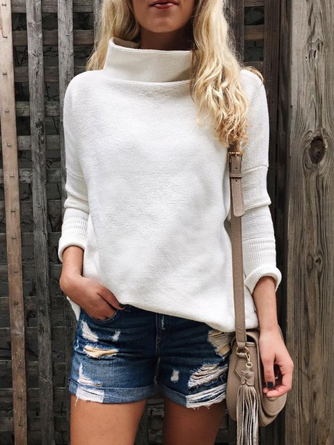 White Sweet Solid Turtle Neck Sweaters