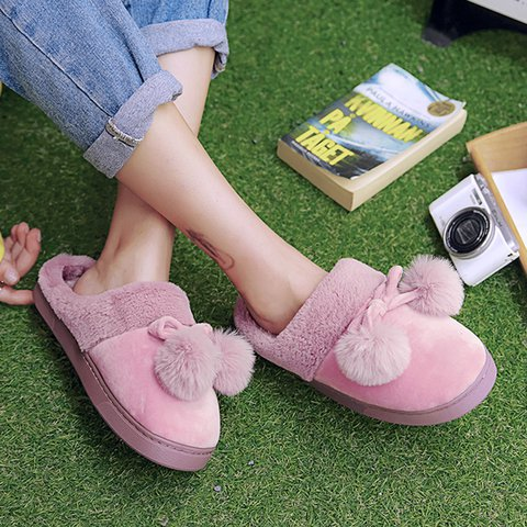 Casual Suede Plush Slippers Home Indoor Non-Slip Soft Shoes