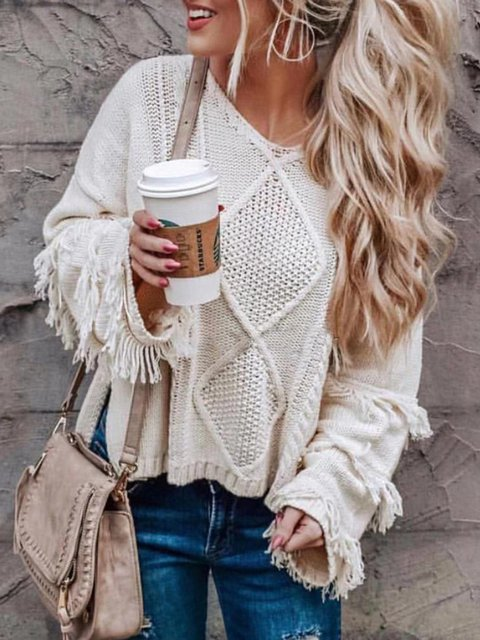Knitted Long Sleeve Vintage Fringed Sweaters