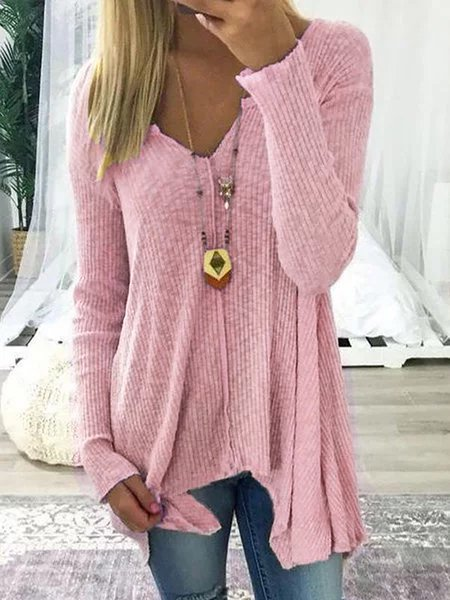 V neck Cotton Solid Casual Long Sleeve Tops