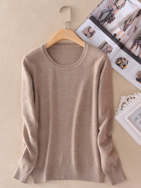 Knitted Long Sleeve Casual Sweaters