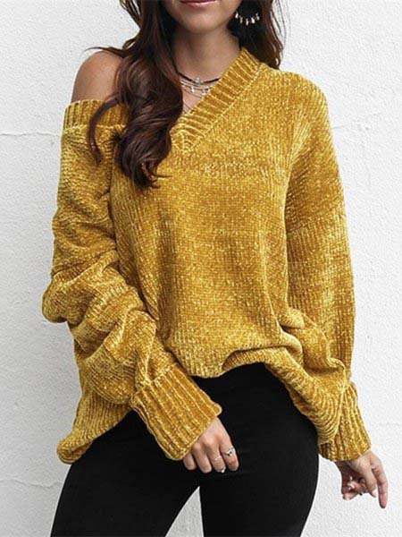 V Neck Long Sleeve Vintage Sweaters