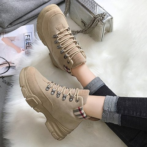 Patchwork Lace-Up Martin Ankle Sneakers Boots
