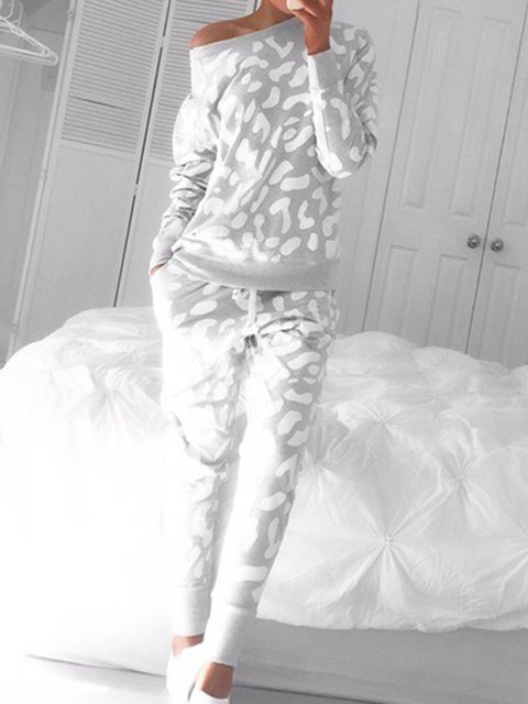 Gray Cotton-Blend One Shoulder Long Sleeve Suit Set