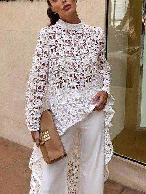 2019 Spring Asymmetric Lace Round Neck Elegant Tunic Long Blouses