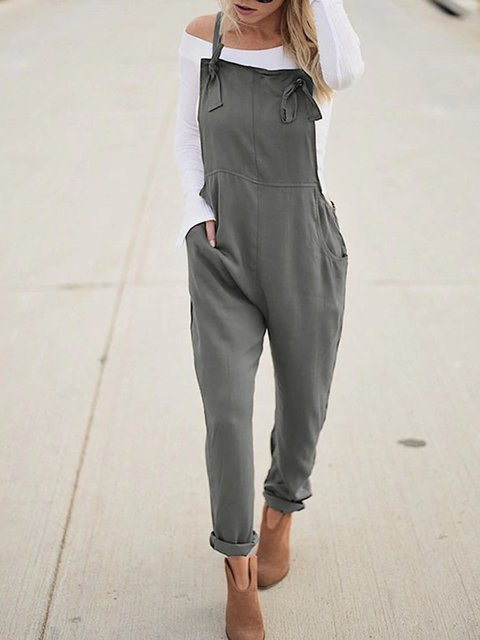 Army Green Cotton-Blend Spaghetti Pockets Jumpsuits