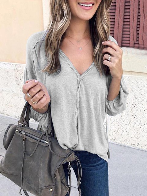 Long Sleeve Buttoned V Neck Solid T-Shirts
