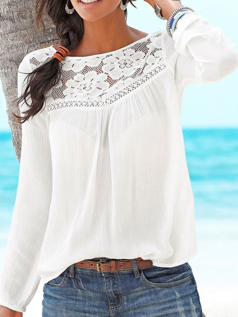 Crew Neck Solid Long Sleeve Vintage Blouses