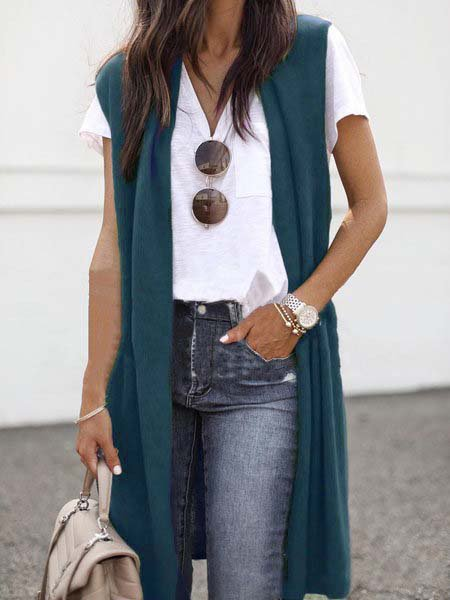 Casual Sleeveless Solid Autumn Cardigans
