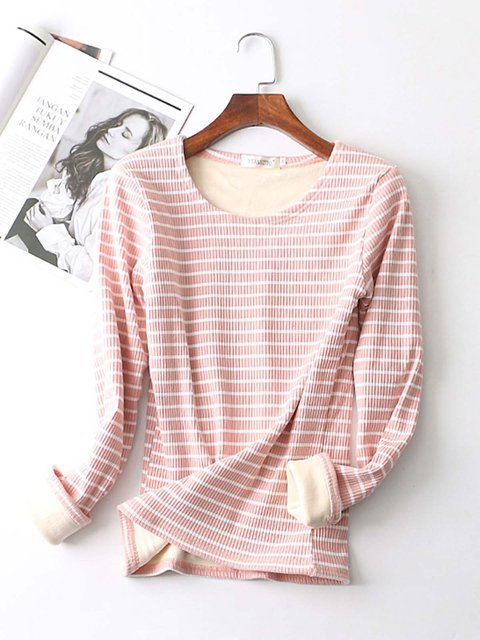Printed Long Sleeve Cotton Striped T-Shirts