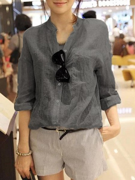 Solid Casual Long Sleeve Buttoned Blouse