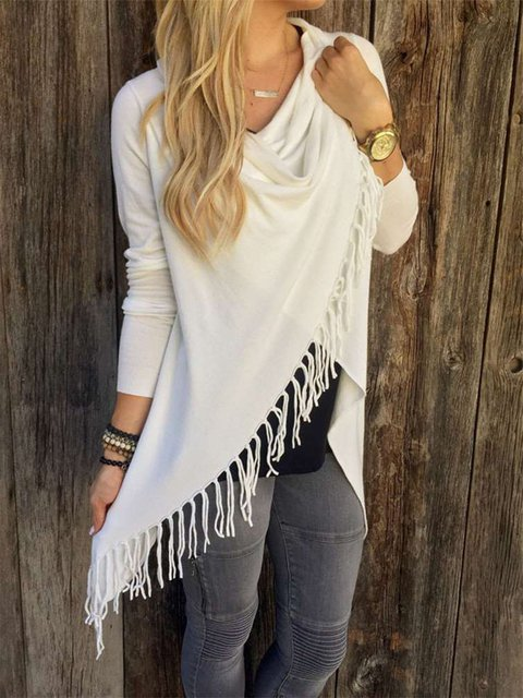 Knitted Long Sleeve Asymmetrical Fringed Sweater