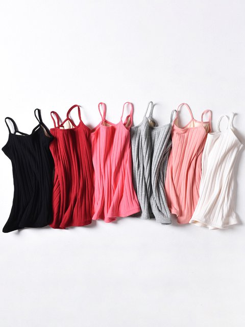 Double Layer Velvet Keep Warm Spaghetti Solid Spaghetti Cotton Camis