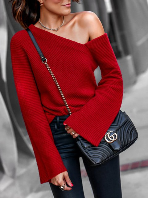 Red One Shoulder Solid Knitted Bell Sleeve Sweaters