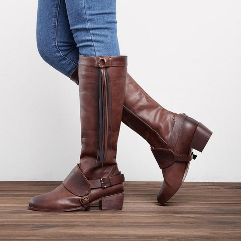 684dc3ca382 Women Vintage Tassel Knot Knee High Boots Chunky Heel Boots