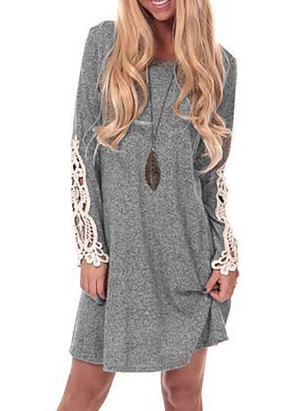 Gray Shift Women Daily Long Sleeve Basic Spring Dress