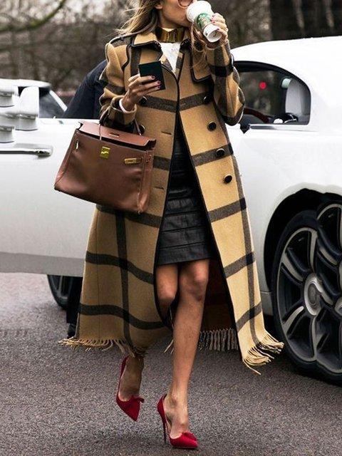 Brown Long Sleeve Vintage Shawl Collar Slit Coats