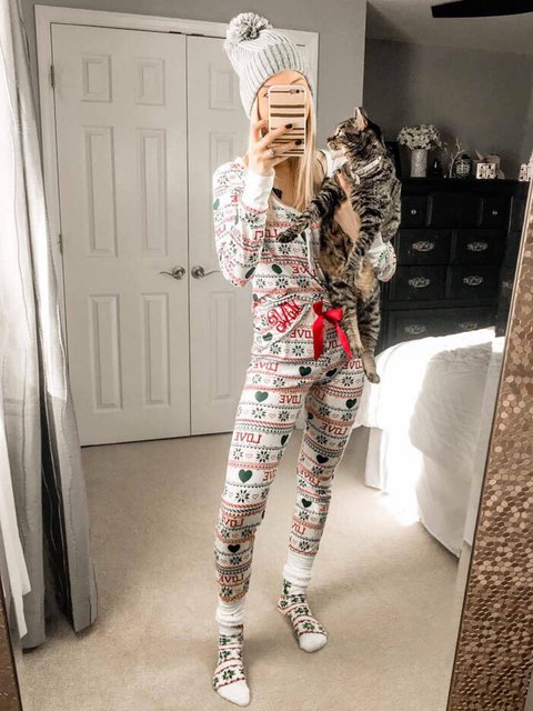 Two Pieces Suit Christmas White Long Sleeve V Neck Abstract Suit Set